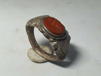 Ancient Roman Silver Ring with Mars Intaglio 1st, 2nd  Century AD
