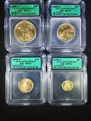 2006-W Burnished 20th Anniversary ICG Certified SP70 American Gold Eagle Set