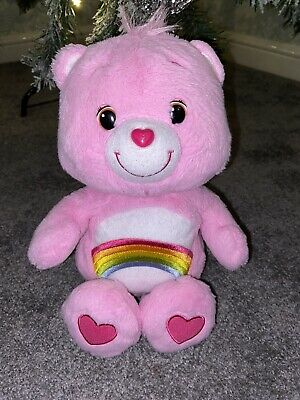 Official Care Bears  Cheer Bear Soft Plush Toy Pink With Rainbow VGC 2012