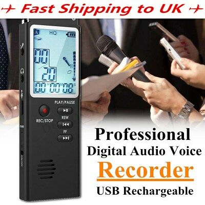 8/16GB Rechargeable Digital Sound Voice Recorder USB LCD Dictaphone MP3