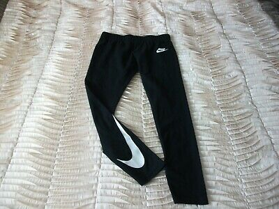 Older Girl's Nike White Tick Black Sports Full Leggings 10-12 Yrs Lovely Cond