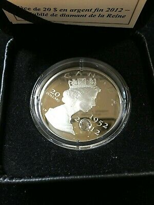 2012  Queen's Diamond Jubilee With Crystal, RCM Proof Silver $20 Dollar Coin