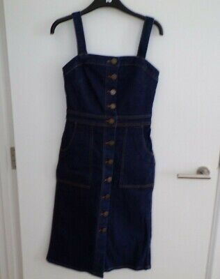 Bnwt M&S Marks Spencer Ladies Girls Longer Length Denim Dungaree Dress Size 6