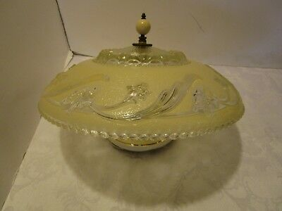 """Antique Art Deco Frosted CREAM Glass Lamp Light FIXTURE 14¼"""" W 1930-40's"""