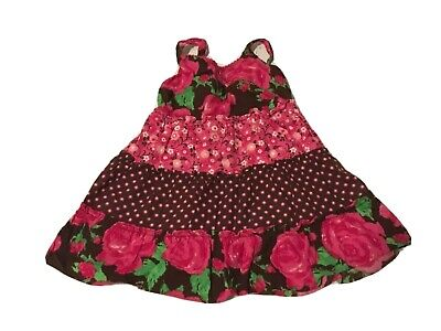 Youngland Baby Girls Sun Dress Floral Print Spaghetti Strap Pink Brown Size 24M