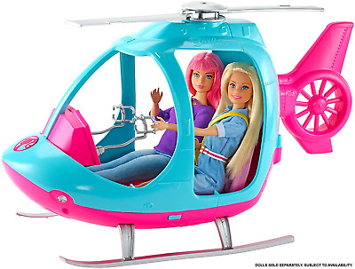 Barbie FWY29 Helicopter, Pink and Blue, with Spinning Rotor, Multicolored