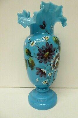 Antique Blue Glass Vase Victorian Hand Painted Vase