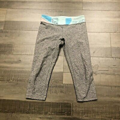 Ivivva Rhythmic Crop Girls 14 Heather Gray Quilt Pants Tight Fit Legging
