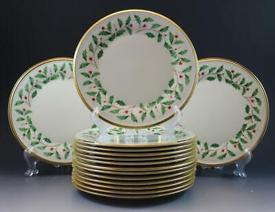 Lenox Holiday Holly Dimension Collection Set of 15 Salad Plates