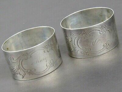 Antique Silverplate Napkin Ring Lot of 2 Mary Monogram and One I can't make out