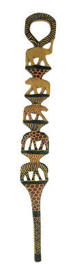 Zeckos Hand Carved African Stacked Wild Animal Print Wooden Walking Stick