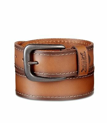 LEVI'S MENS ICON Stitched Leather Belt Tan, Small NEW