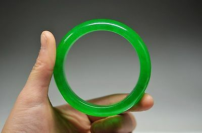 60 mm EXQUISITE CHINESE NATURAL JADEITE JADE HAND CARVED BRACELET
