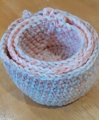 Nesting Tidy Baskets - Crochet Hand Made - Multi Use (2)