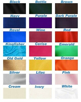 "Silky Satin Dress Fabric Material 150 Cm / 60"" Wide 20 Colours Available"