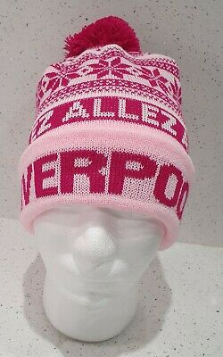 Liverpool Bobble Hat - Pink, White and Red Snowflake Style Hat - Onesize