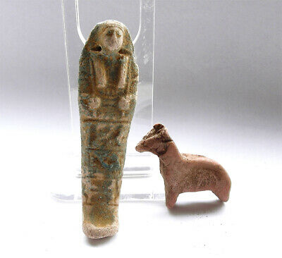 Genuine ancient Egyptian fiance shabti figure and animal