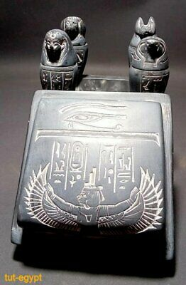 ANCIENT EGYPTIAN STATUE BOX Set of 4 Canopic Jars Egyptian Organs Funerary Stone