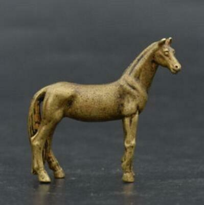 Exquisite Chinese Old pure brass Hand-Carved horse small statue YR