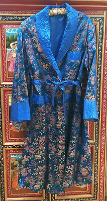 """VINTAGE 50s 60s MENS CHINESE ORIENTAL DRESSING GOWN SMOKING JACKET  M L 40"""" 42"""""""