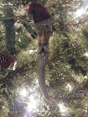 Wood Spirit Carved Antler Santa Claus Elf Faerie Folk Ornament OOAK