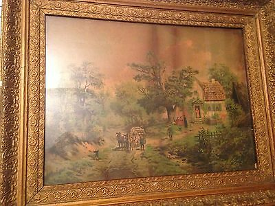 Antique Decorative Wooden Carved Frame Picture 1800-1900s Log Wagon Cabin Scene