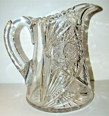 Lovely Antique American Brilliant Cut Glass Water Pitcher Very Nice!