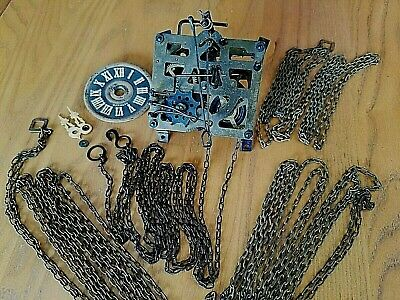 GERMANY REGULA Cuckoo Clock Movement #25 Parts, 4 chains, face, hands for repair