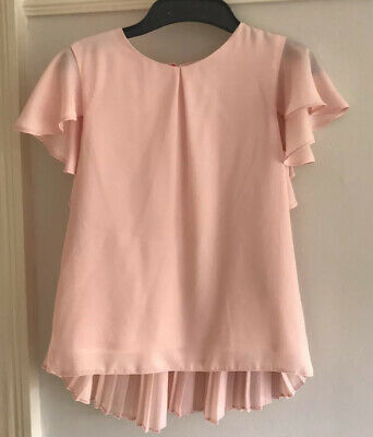 Stunning TED BAKER girls Pink Pleated Back Top Age 10 Vgc