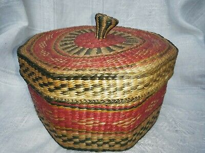 Set Of Vintage Wicker Baskets,5 Graduated To Fit Inside,Ethnic African