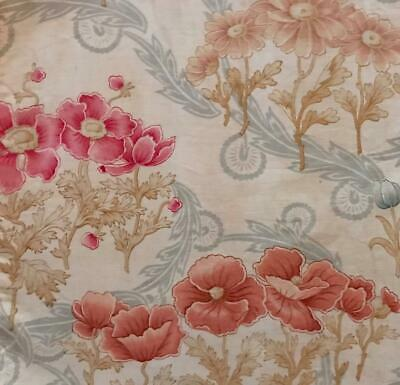 BEAUTIFUL PIECE LATE 19th CENTURY FRENCH FINE LINEN COTTON, POPPIES 454