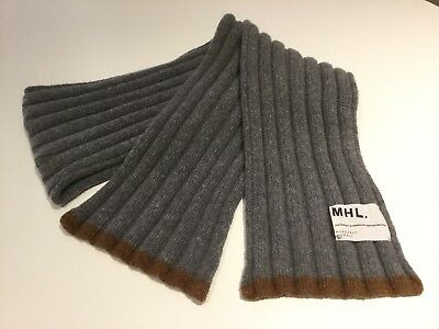 Margaret Howell Mhl Men's Unisex 100% Wool Ribbed Grey And Brown Scarf New