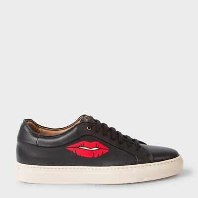 Paul Smith Gent's Mens Basso Lips Matt Black Leather Trainers Size 11 New In Box