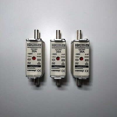 X3 Mersen Blade Fuses 35A NH000 gL/gG Combination Indicator