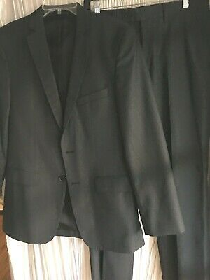 Zara Man Basic grey tone on tone 2 pc suit USA 36/32W Eur 46 NWOT poly blend