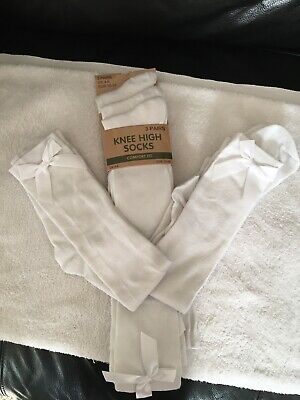 girls White knee high bow socks New X5 Pairs
