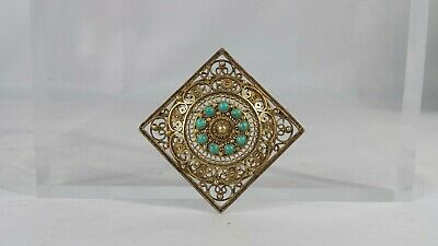 Vintage Chinese Gold Wash Sterling Silver Turquoise Filigree Pin Brooch 2.5""