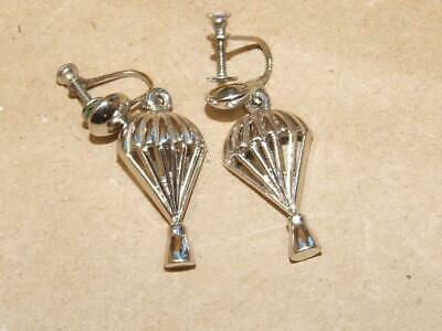 """Vintage Antique Sterling Silver Hot Air Balloon Dangle Screw Back Earrings 1.5"""""""
