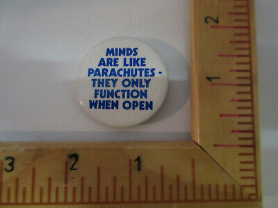 Femism Copyrighted Minds Arel Ike Parachutes.....when Open,  Pinback, Badge