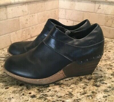 DR MARTENS Black Leather Wedge CHLOE Zip Ankle Bootie Clogs Shoes Womens US 8