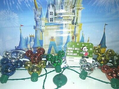 Disney Parks Mickey Mouse Icon Christmas Jingle Bell Light-Up Necklace New w Tag