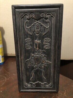 Antique Chinese Hardwood Carved Box w/ Bats and Peaches
