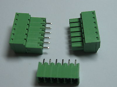 12x Screw Terminal Block Connector 3.81mm 6pin/way Green Pluggable Type Straight
