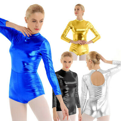 Womens Ladies Shiny High Turtle Neck Long Sleeves Dance Casual Leotard Bodysuit