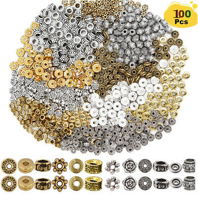 100pcs Spacer Beads Charm Spacer Alloy for Jewelry Making DIY Bracelets Necklace