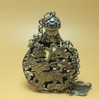 chinese Tibetan silver old copper hand carved Kirin phoenix statue snuff bottle