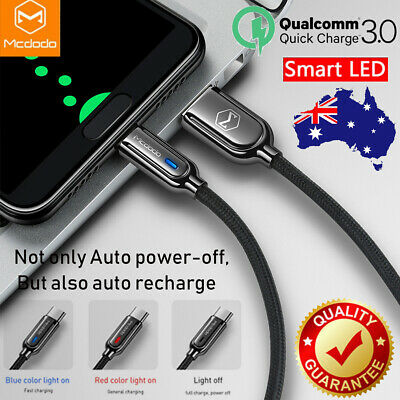 Mcdodo USB-C Type-C QC 3.0 LED Auto Disconnect Quick Charger Data Charging Cable