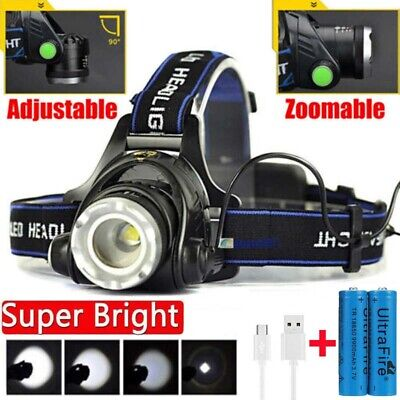 350000Lumen T6 LED Zoomable Headlamp USB Rechargeable 18650 Headlight Head Lamp