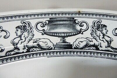 Large Antique Pottery Serving Platter Charger Plate Grecian Urn Greek Sphinx