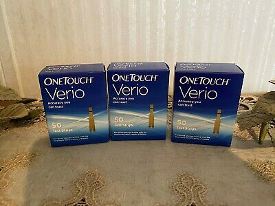 One Touch Verio  test strips 3 boxes 50 per box